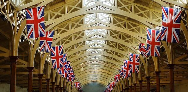 Flags in a shopping arcade