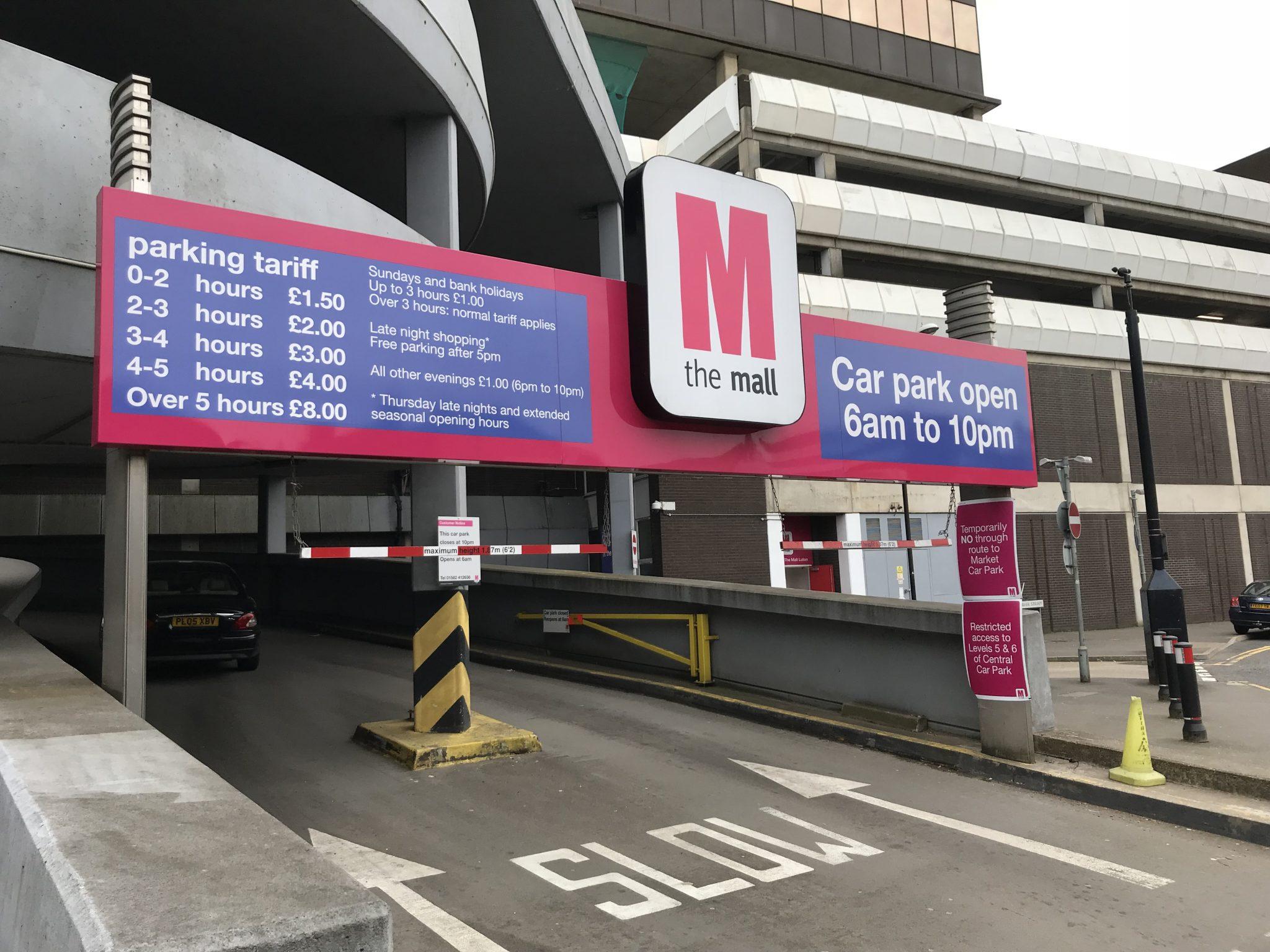 Car park entrance signage